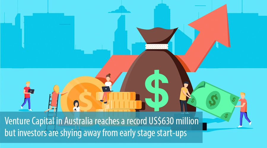 Venture Capital in Australia reaches a record US$630 million but investors are shying away from early stage start-ups