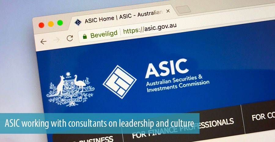 ASIC working with consultants on leadership and culture