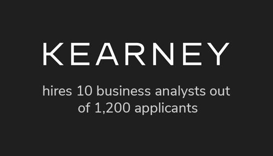 Kearney hires ten business analysts out of 1,200 applicants